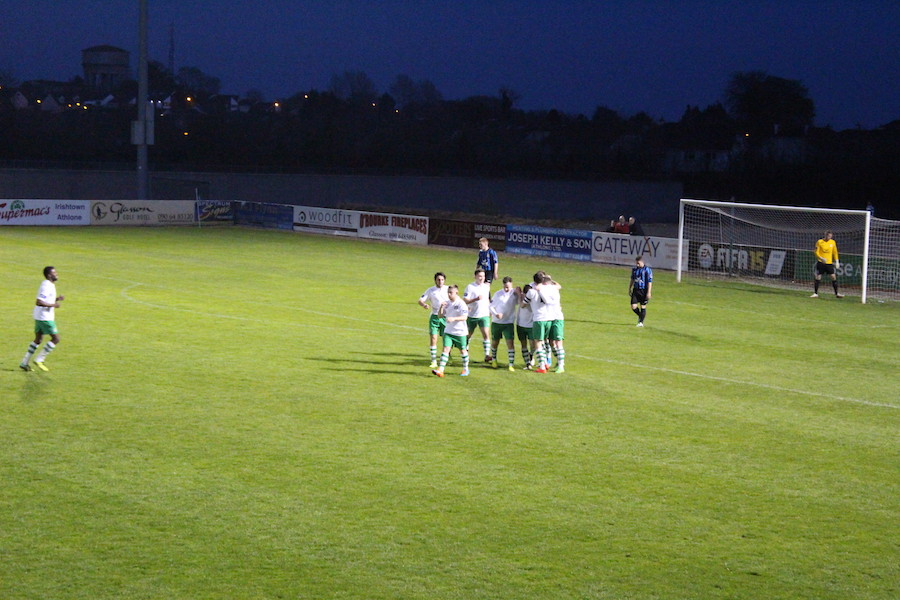 Celebrations after Conor Foley's goal.