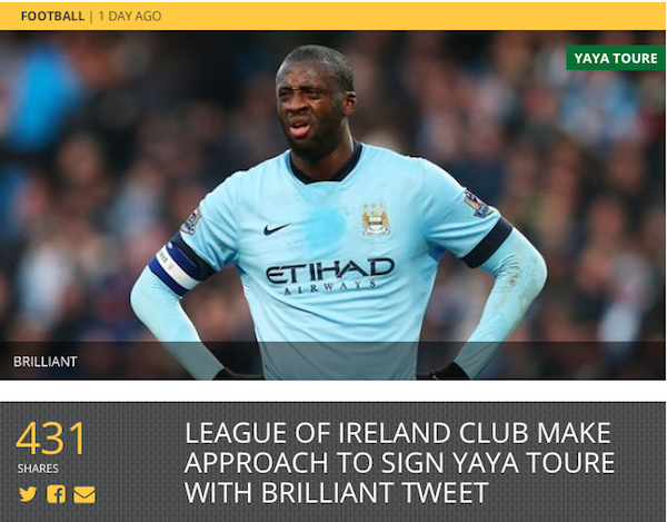 Cabinteely FC yaya toure sportsjoe.ie the link marketing
