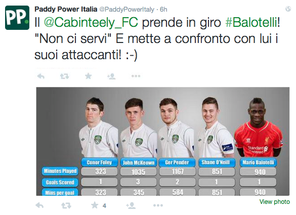 Cabinteely FC PAddy Power Italia
