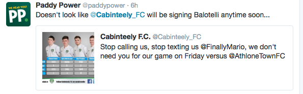 cabinteely fc paddy power
