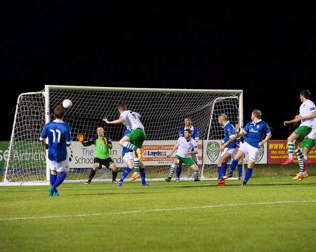 Purdy's header crashes off the post for Cabinteely. Photo taken by Paul Lundy