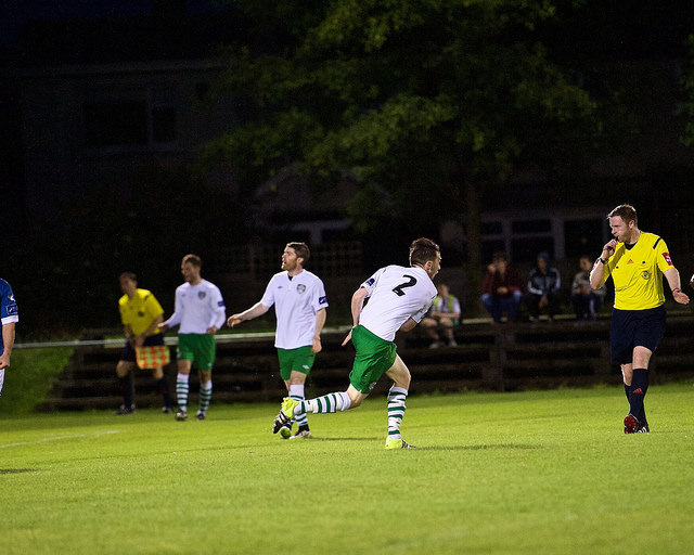 Karl Byrne wheels away celebrating after his curling effort broke the deadlock for Cabinteely. Photo taken by Paul Lundy.