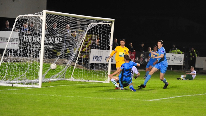John McKeown turns the ball home for Cabo's goal.Photo courtesy of Paul Lundy.