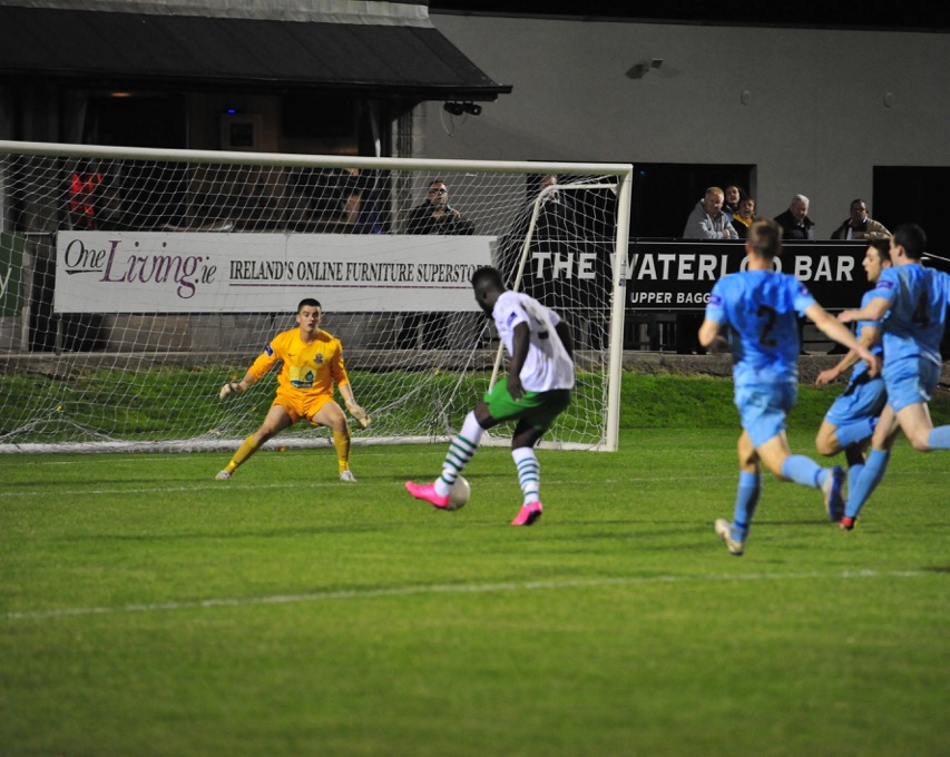Oguntola's shot goes just wide of the post. Photo courtesy of Paul Lundy
